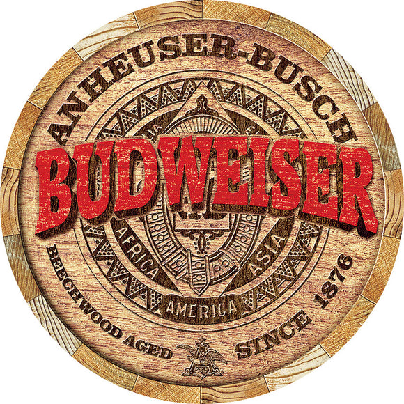 Budweiser Beer Barrel End Round Circle Man Cave Metal Tin Sign 2165
