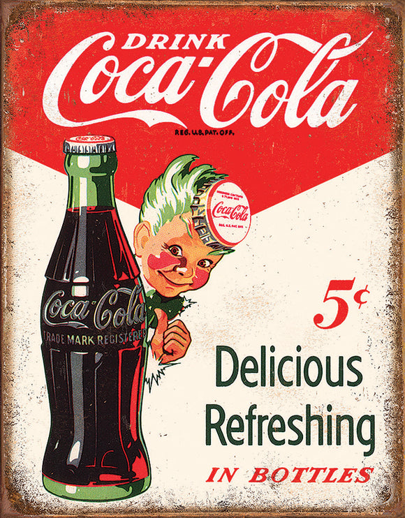 New Drink Coca-Cola Coke Boy 5 Cents Vintage Metal Tin Sign 2168