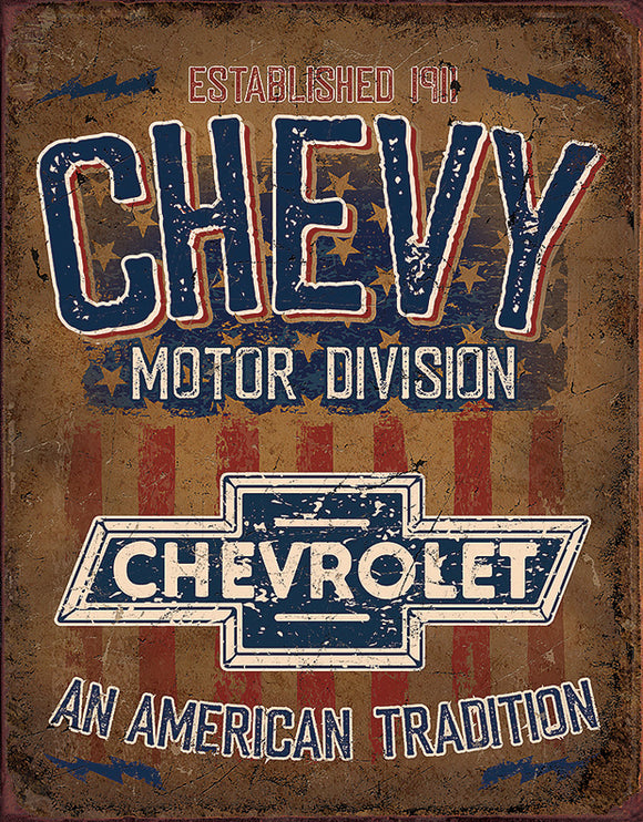 Chevy American Tradition Man Cave Garage Metal Tin Sign 2204