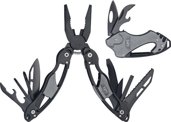 UZI Black Aluminum Pliers & Keychain Survival Multi-Tool 2pc Combo Set GS001