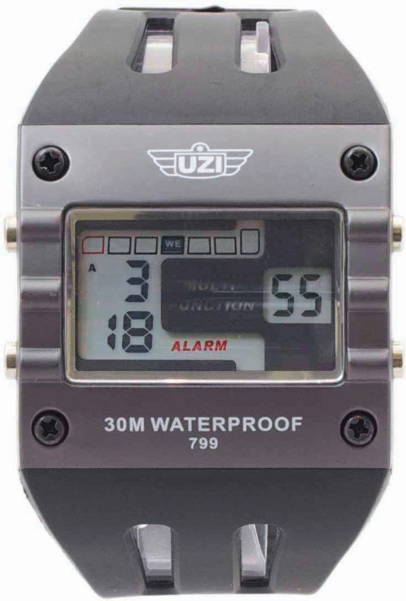 UZI Digital Rectangular Black & Gun Metal Gray Water Resistant Sports Watch W799