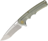 WE KNIFE Ti Green Flipper Folding Pocket Knife Drop Pt SW Satin S35VN - 611F