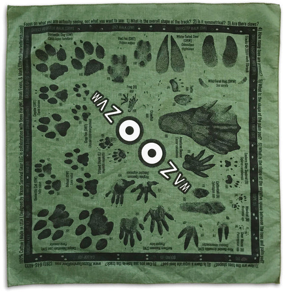 Wazoo Survival Gear Green Animal Tracking Field Prints Bandana Head Cover WSG007