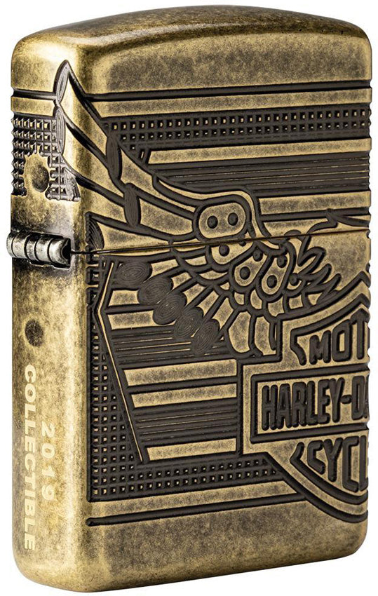 Zippo Harley Davidson Motorcycles Logo Antique Brass Windproof Lighter 09591