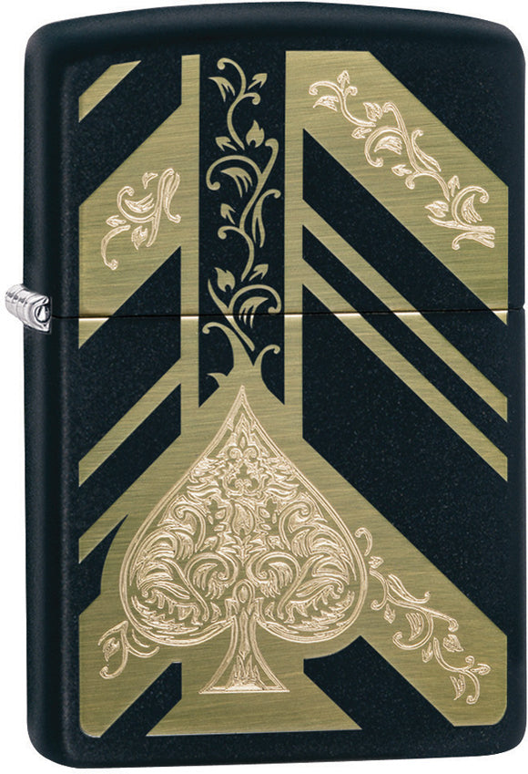 Zippo Ace of Spades Engraved Gold & Black Matte Windproof Lighter 11321