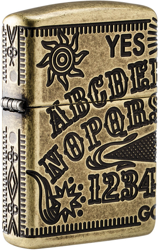 Zippo Ouija Board Armor MultiCut Antique Brass Windproof Lighter 11329