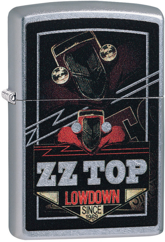 Zippo ZZ Top Logo Lowdown Street Chrome Windproof Lighter 11336