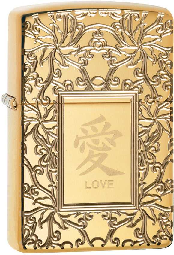 Zippo Chinese Love Armor Polish Brass Gold Windproof Lighter 11350
