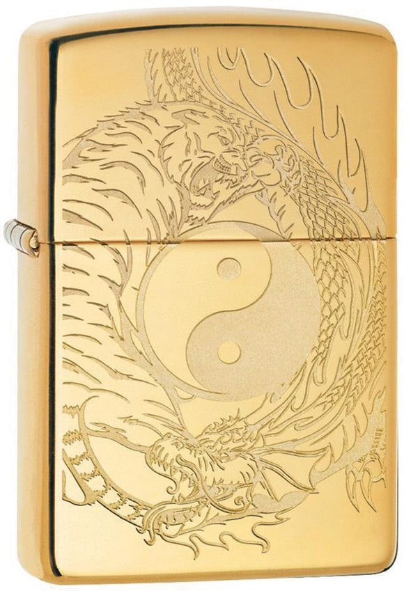 Zippo Tiger Dragon Yin & Yang Polish Brass Gold Windproof Lighter 11352