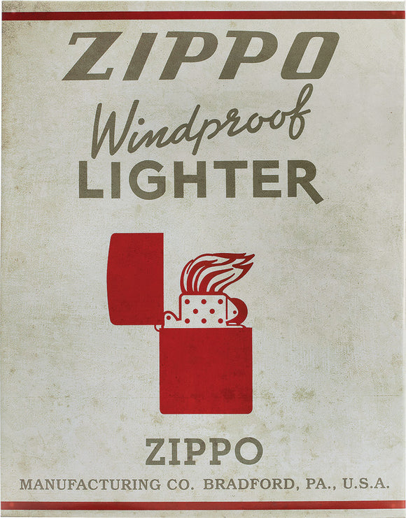 Zippo Windproof Lighter Logo Retro Vintage Style Collectible Tin Sign 142373