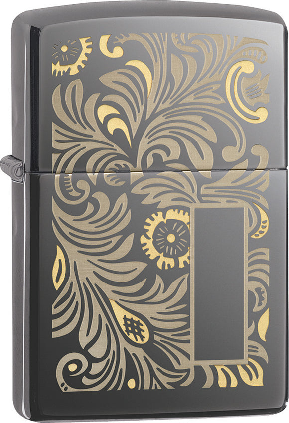 Zippo Lighter Venetian Black Ice Windproof USA 14400