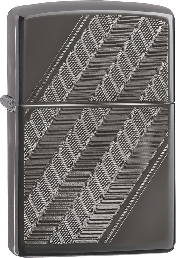 Zippo Lighter Luxury Design Black Ice Chrome Windproof USA 14404