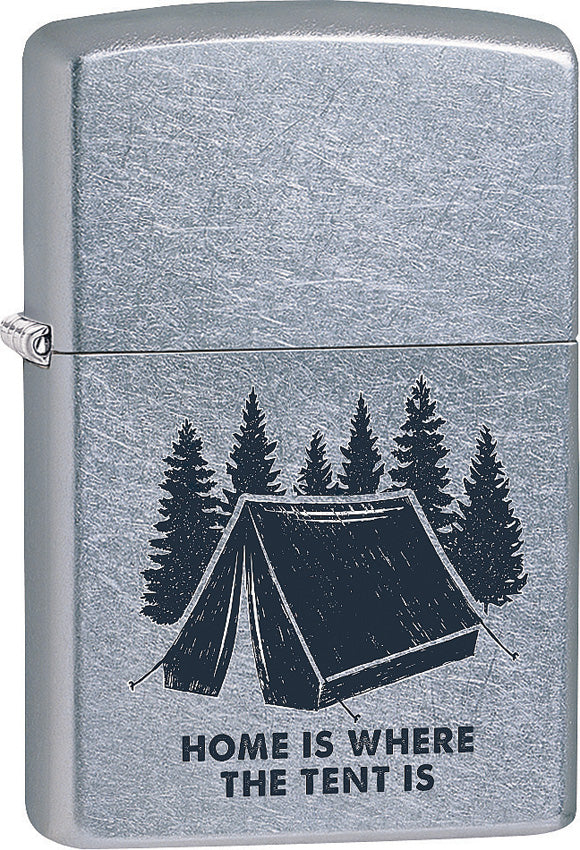Zippo Lighter Home Is Where The Tent Is Camping Design Made In The USA 15226