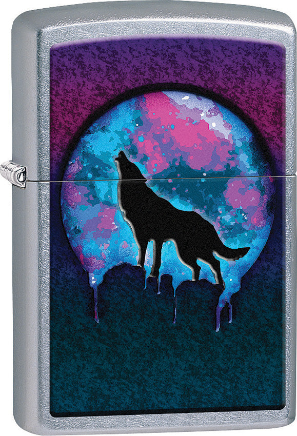Zippo Lighter Street Chrome Blue/Purple Wolf Moon Design Made In The USA 15257