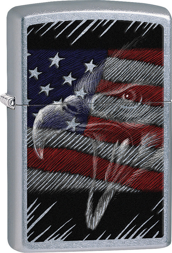 Zippo Lighter Street Chrome Eagle/Flag Design Made In The USA 15259