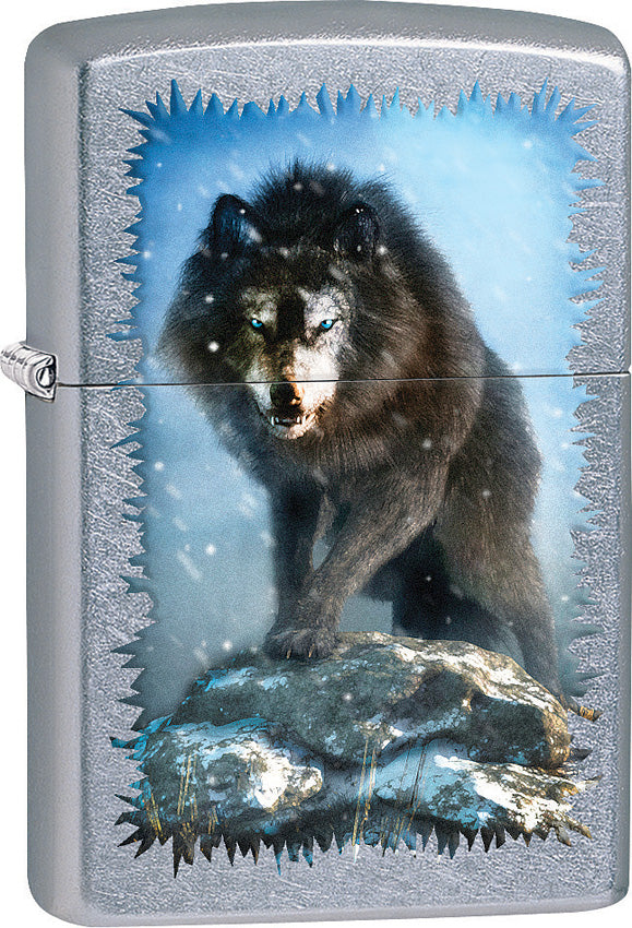 Zippo Lighter Street Chrome Winter Wolf Design Made In The USA 15288