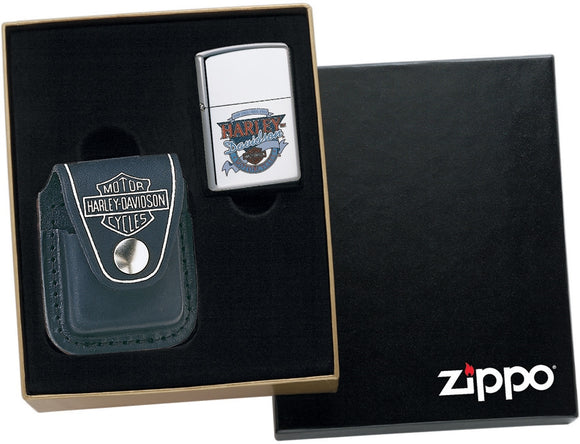 Zippo Harley Davidson Leather Pouch / Gift Box ONLY - NO LIGHTER HDP6
