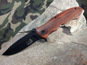 "8"" Elk Ridge Folding Spring Assist Brown Wood Hunting Black Knife - a160bw"