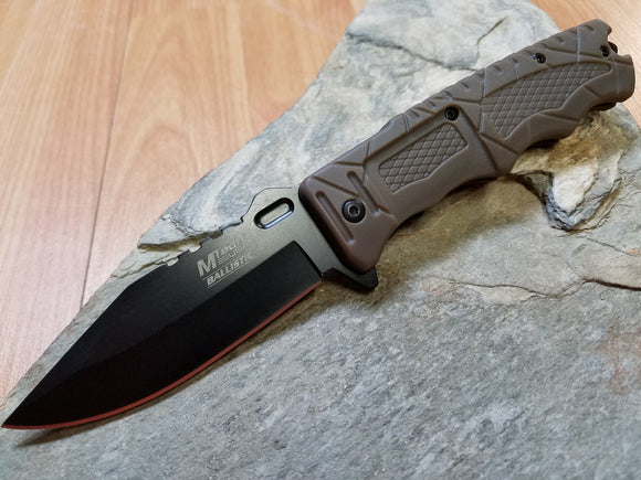 Mtech Rescue Spring Assisted Brown Folding Pocket Knife - a909bn