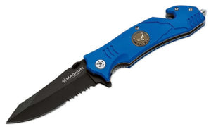 Boker Magnum Rescue Linerlock Air Force Blue Handle Black Folding Knife
