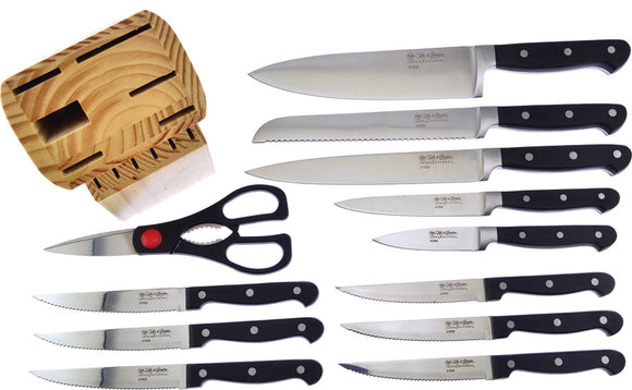 Hen & Rooster 12pc Black Kitchen Knives & Scissors Set w/ Storage Block I060