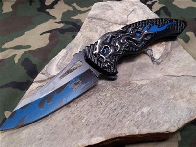 Dark Side Folding Fantasy Flame Skull Silver & Blue Knife  A/O - A034BL