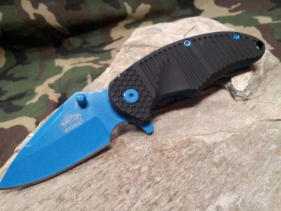 Master Assisted Open Folding Knife Black w/ Neon Blue Liner & Blade 3.6