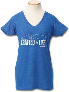 Spyderco Crafted for Life Women's Adult Size S M LG XL 2XL Blue Short Sleeve V-Neck T-Shirt