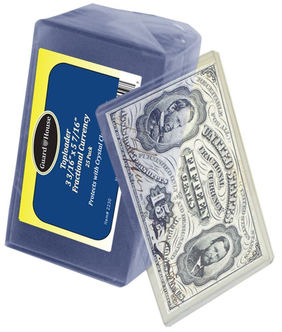 (25) Small Fractional Regular Deluxe Currency Money Note Sleeve Holders 12 MIL Top Load