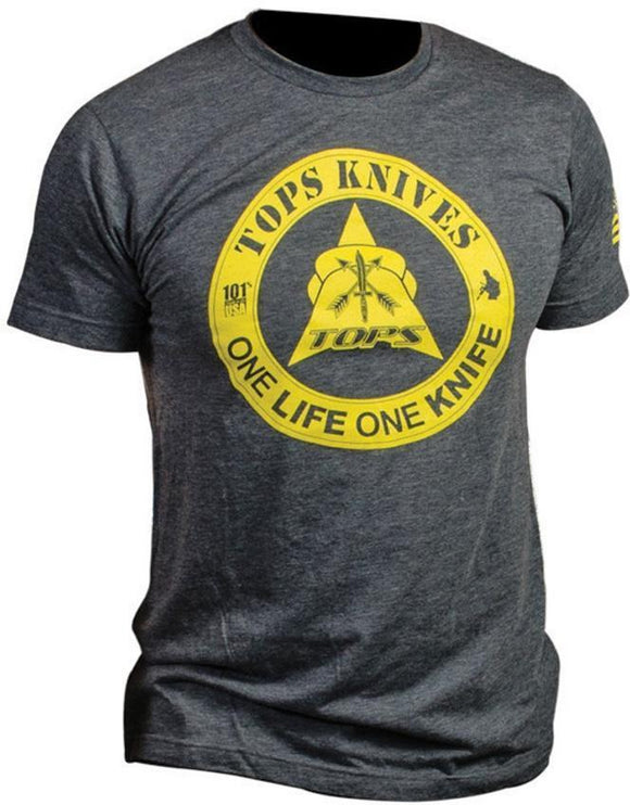 TOPS Knives One Life One Knife Yellow Logo Graphic XXL Blue T-Shirt