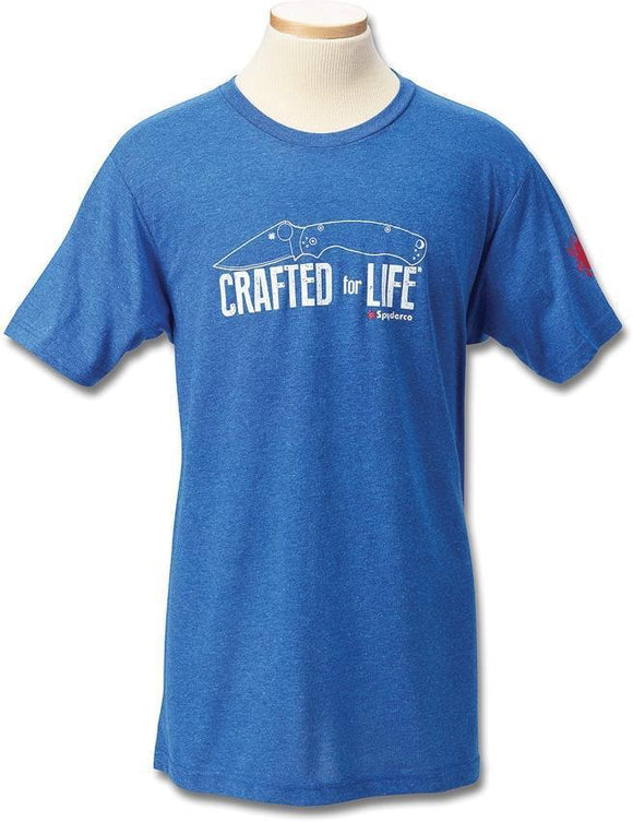 Spyderco Crafted for Life Men's Adult Size S M LG XL 2XL 3XL Blue Short Sleeve T-Shirt