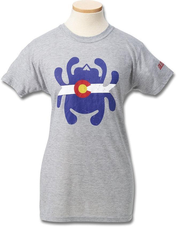 Spyderco Colorado Flag Bug Logo Women's Adult Size S M LG XL 2XL Gray T-Shirt