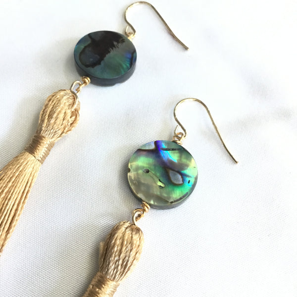 Abalone Golden Tassel Earrings
