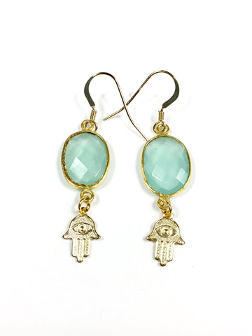 Aqua Chalcedony Hamsa Earrings
