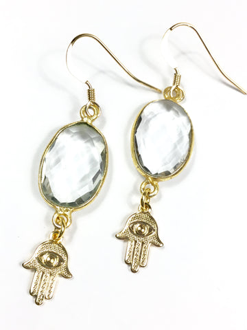 Quartz Hamsa Earrings