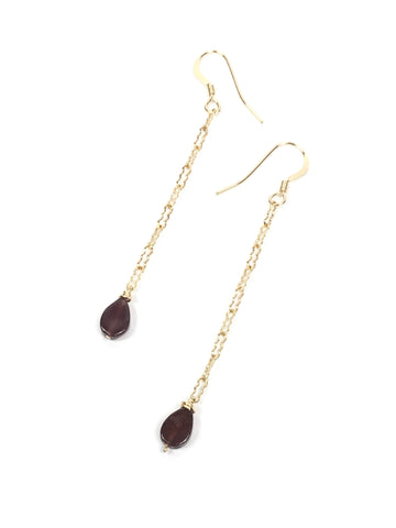 Garnet Droplet Dangle Earrings
