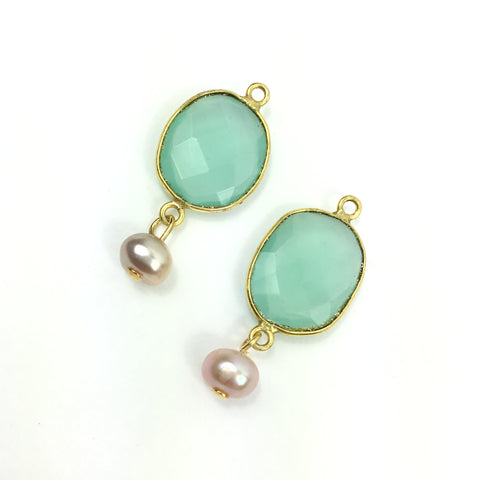 Chalcedony with Freshwater Pearl Charms