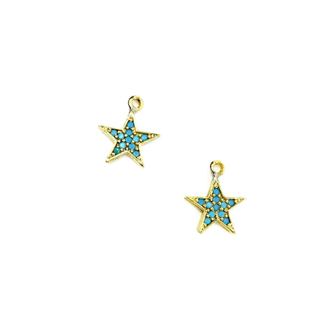 Turquoise Gemstone Star Charms