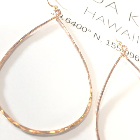 Rose Gold Teardrop Hoop Earrings