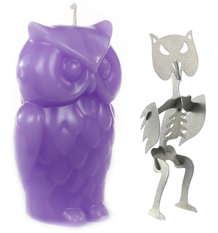 Angry Owl Skeleton Candles