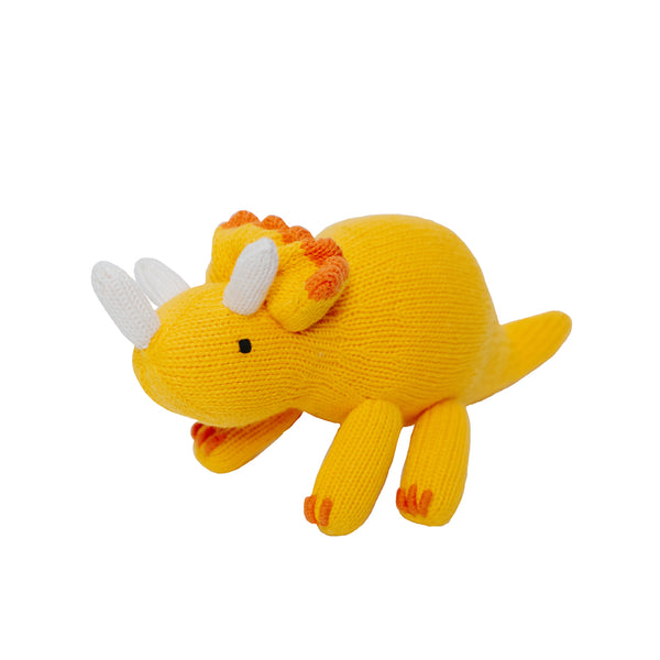 Knit Triceratops Dinosaur Toy