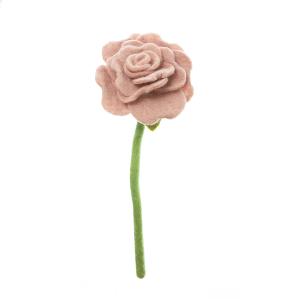 Dusty Pink Blooming Rose, had made in Nepal. Bendable wire stem. Azo-free dyes non toxic felted wool. Perfect for flower bouquet.