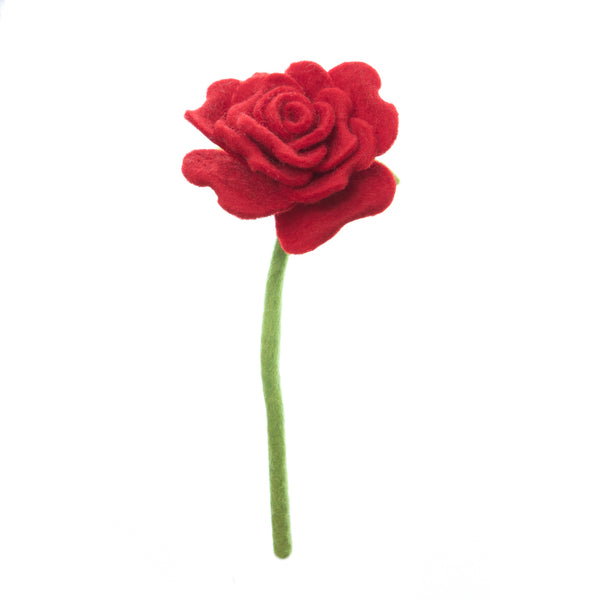 Red Blooming Rose, had made in Nepal. Bendable wire stem. Azo-free dyes non toxic felted wool. Perfect for flower bouquet.