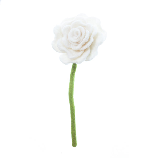 White Blooming Rose, had made in Nepal. Bendable wire stem. Azo-free dyes non toxic felted wool. Perfect for flower bouquet.