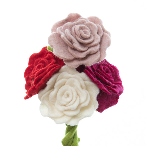 Colorful Felt Decorative Blooming rose. Great for felt flower bouquet.
