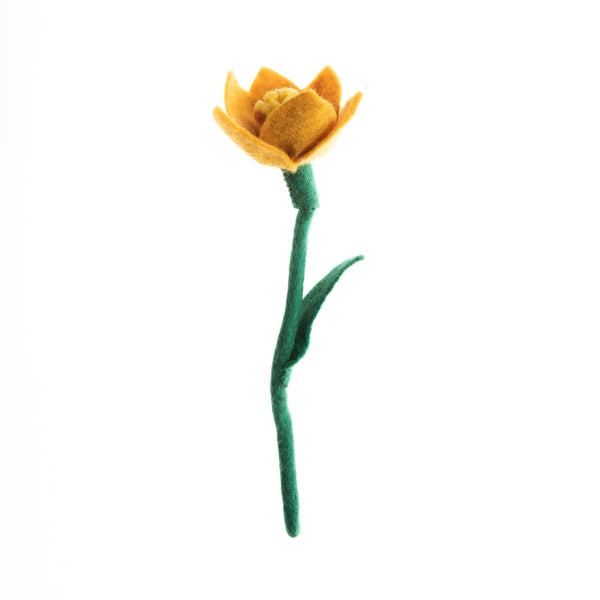 Deep Yellow Felt Daffodils hand made in Nepal. Bendable wire stem. Azo-free, non toxic felted wool. Great for decorating any purpose.