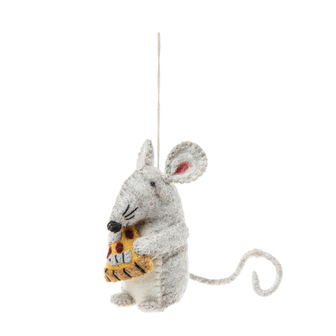 Felt Pizza Rat Ornament