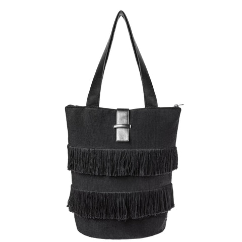 Black Fringe Tote Bag