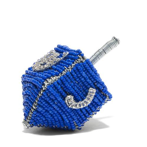 Global Goods Partners | Wire Art Beaded Dreidel Blue handmade in South Africa  handcraft artisans phillanthropy toy spin good-deed