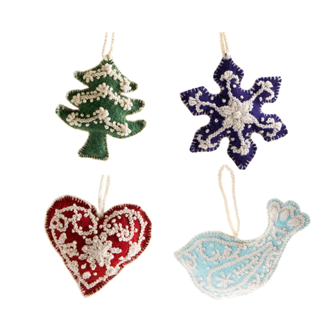 Embroidered Wool Ornaments - Set of 4